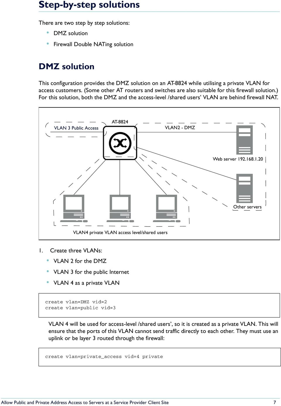 ) For this solution, both the DMZ and the access-level /shared users VLAN are behind firewall NAT. VLAN 3 Public Access AT-8824 VLAN2 - DMZ Web server 19