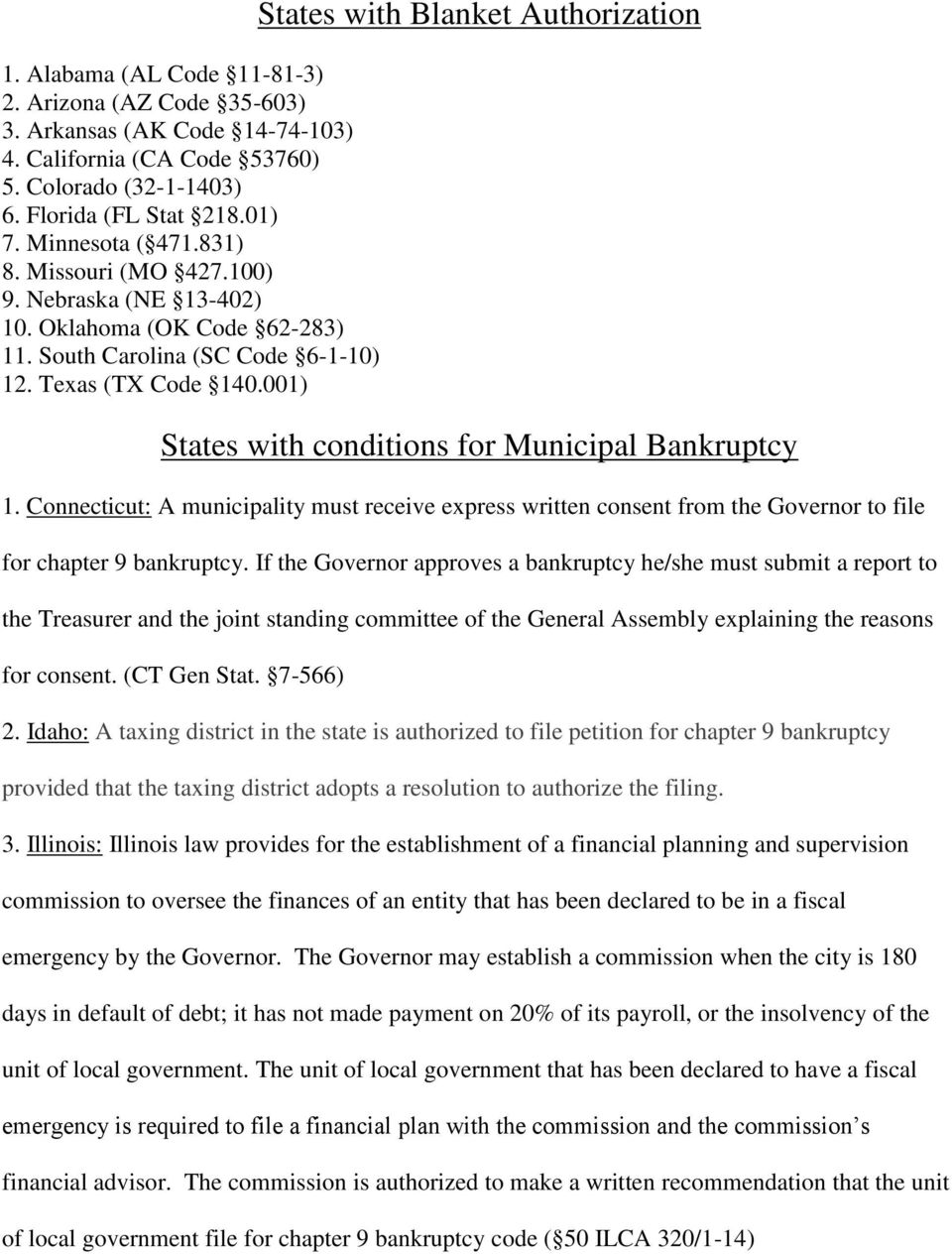 001) States with Blanket Authorization States with conditions for Municipal Bankruptcy 1.