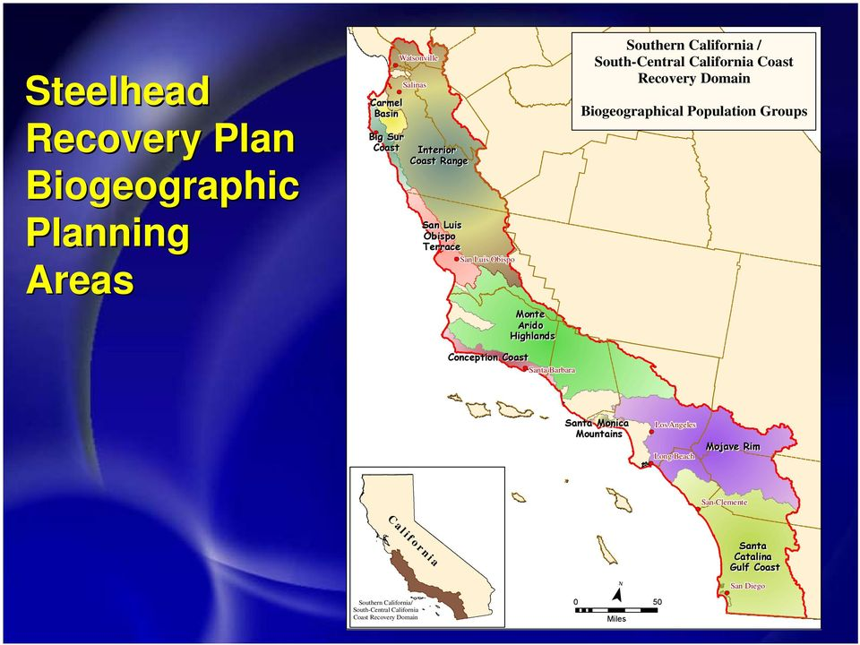 California Coast Recovery Domain Biogeographical Population Groups Santa Monica Mountains Los Angeles Long Beach Mojave Rim San