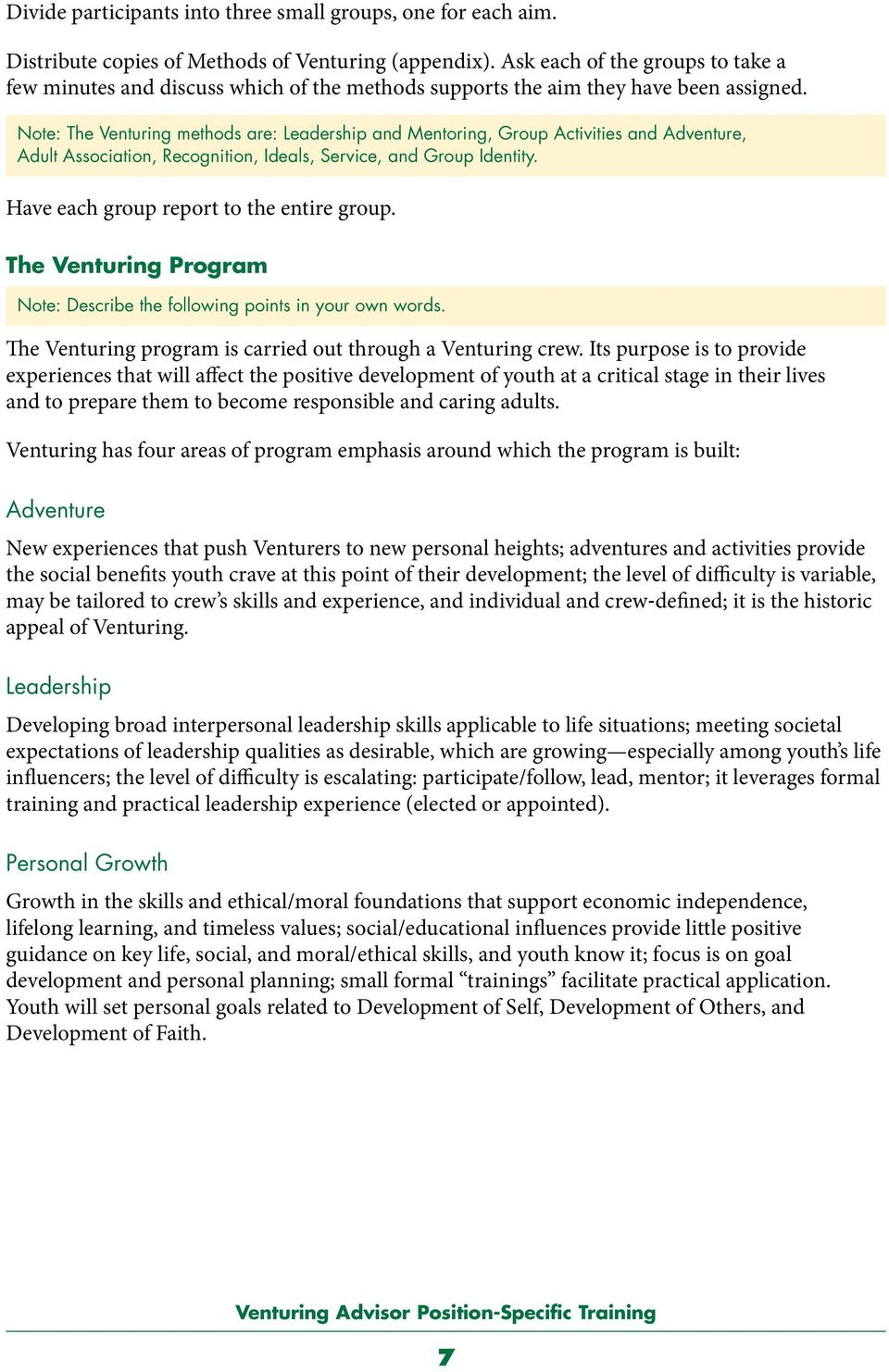 Note: The Venturing methods are: Leadership and Mentoring, Group Activities and Adventure, Adult Association, Recognition, Ideals, Service, and Group Identity.