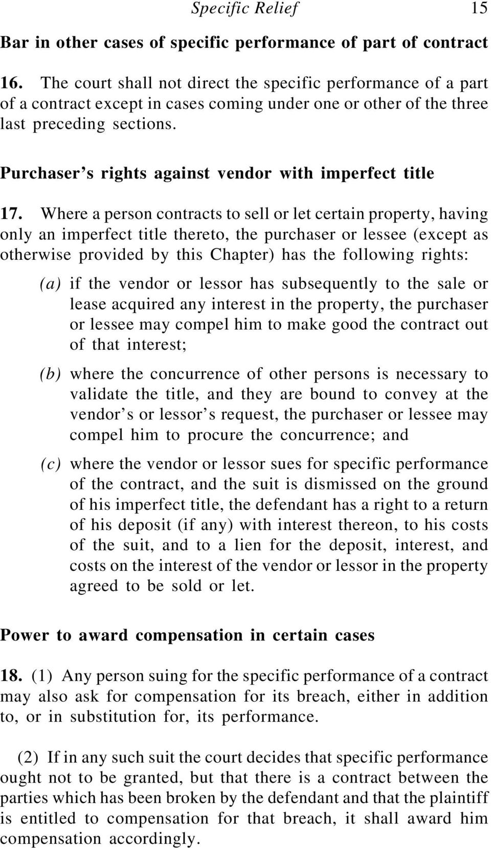 Purchaser s rights against vendor with imperfect title 17.