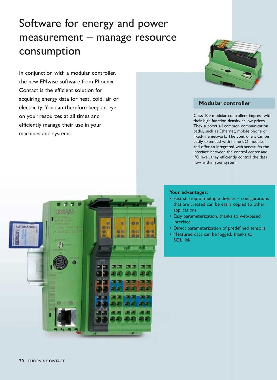 Modular controller Class 100 modular controllers impress with their high function density at low prices.
