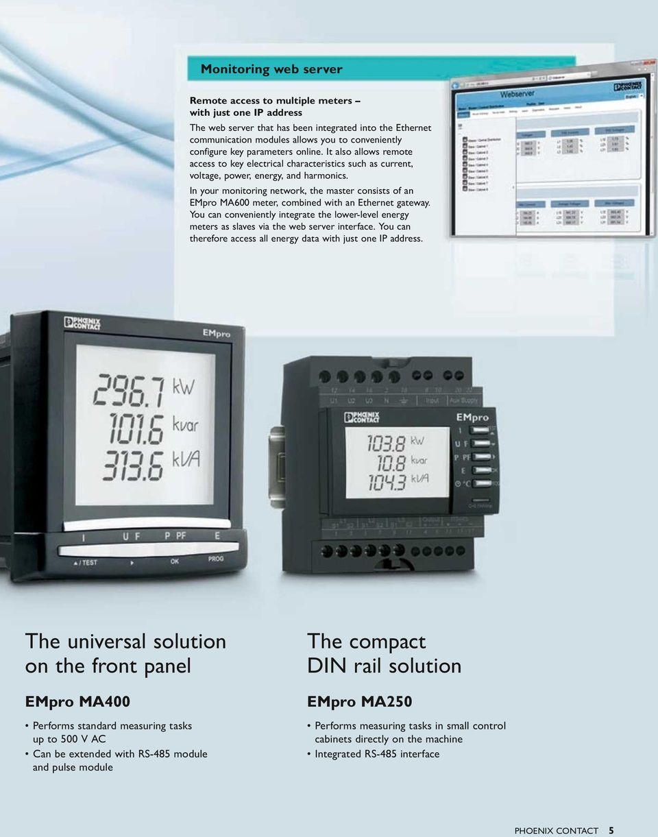 In your monitoring network, the master consists of an EMpro MA600 meter, combined with an Ethernet gateway.