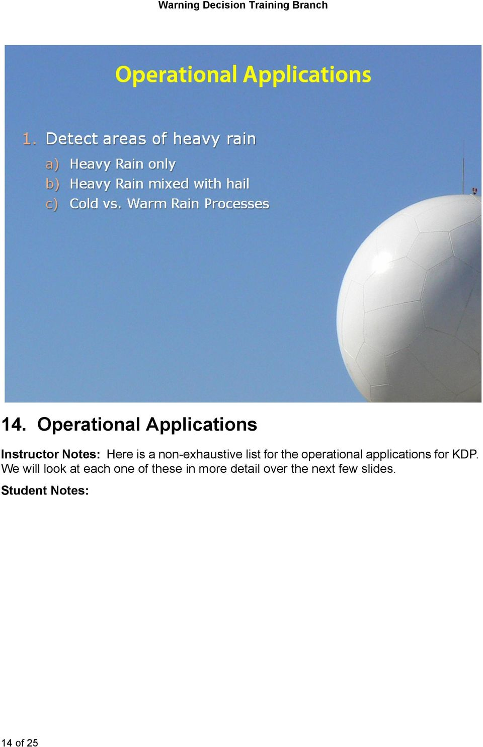 non-exhaustive list for the operational applications for