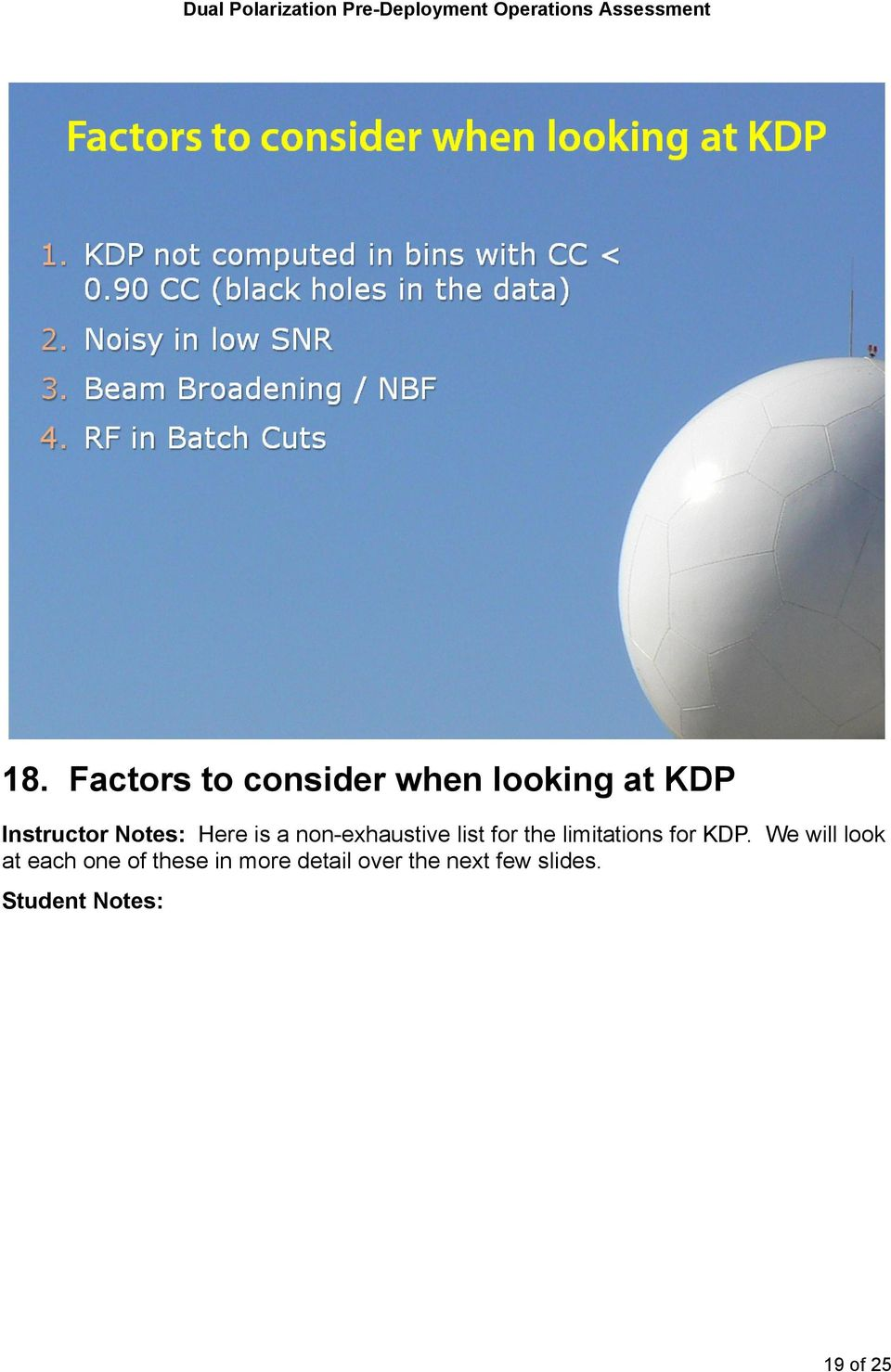 for the limitations for KDP.