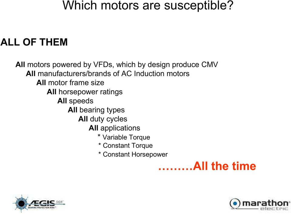 manufacturers/brands of AC Induction motors All motor frame size All horsepower