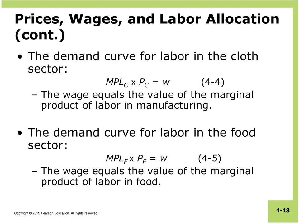 equals the value of the marginal product of labor in manufacturing.
