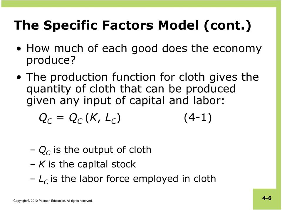 The production function for cloth gives the quantity of cloth that can be