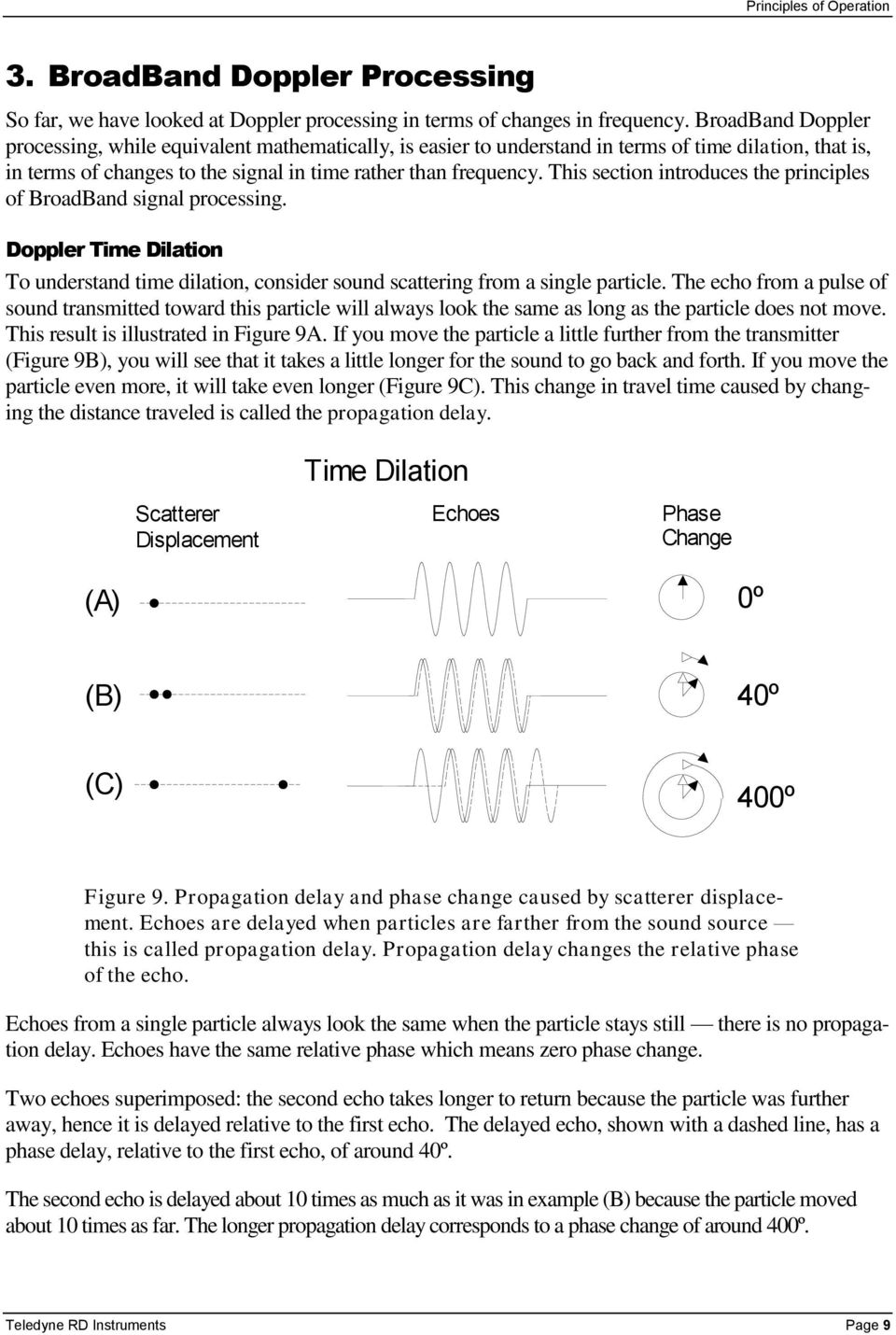 This section introduces the principles of BroadBand signal processing. Doppler Time Dilation To understand time dilation, consider sound scattering from a single particle.