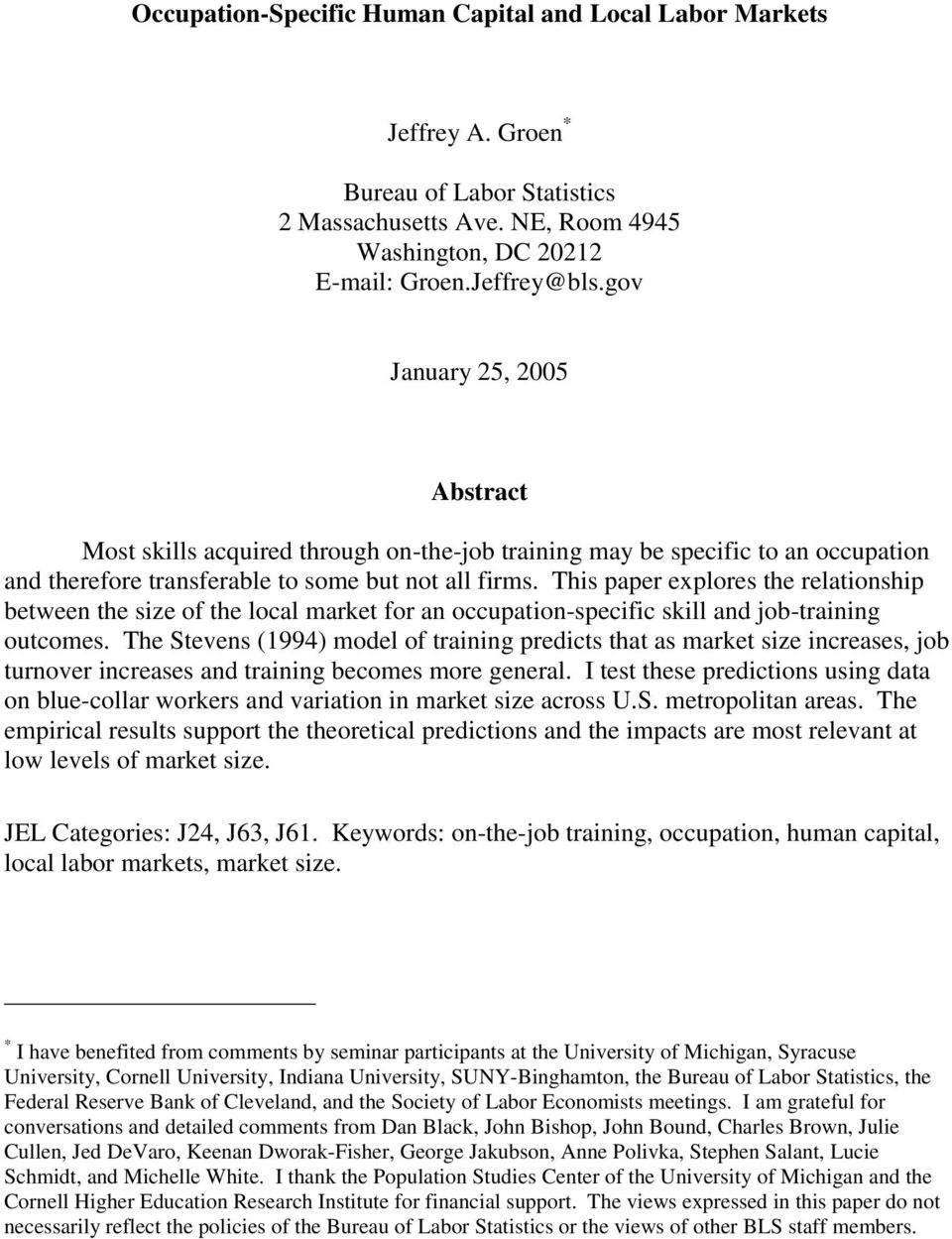 This paper explores the relationship between the size of the local market for an occupation-specific skill and job-training outcomes.