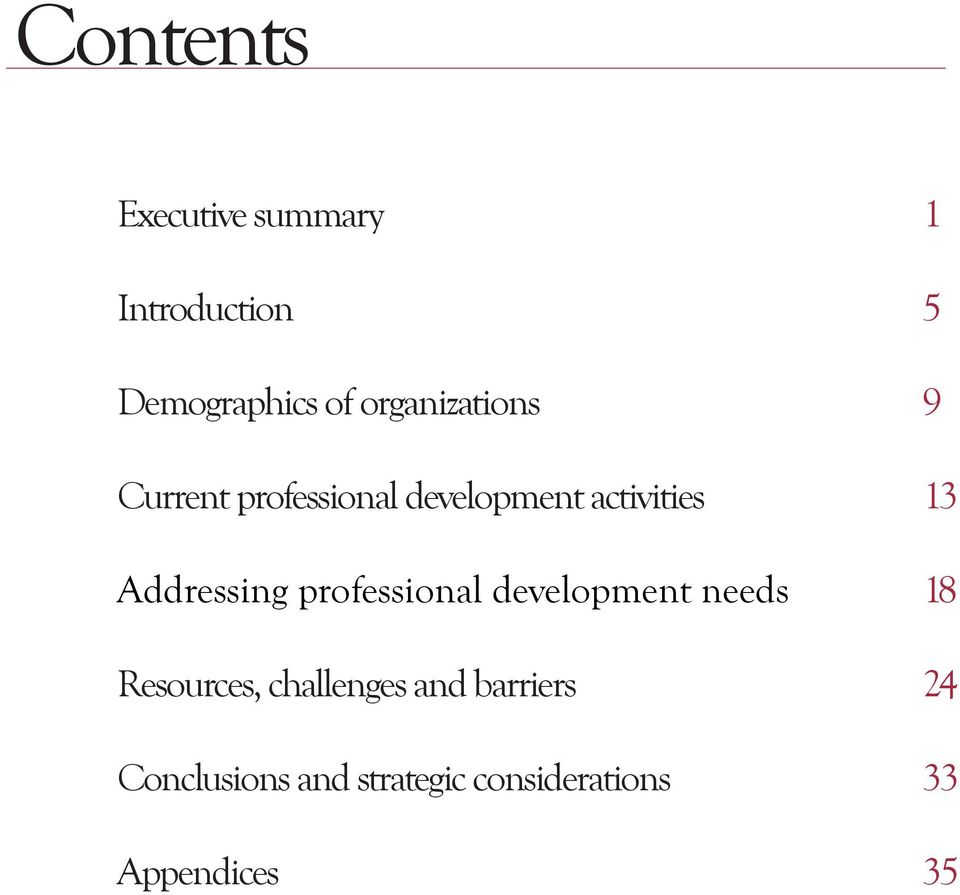 Addressing professional development needs 18 Resources,