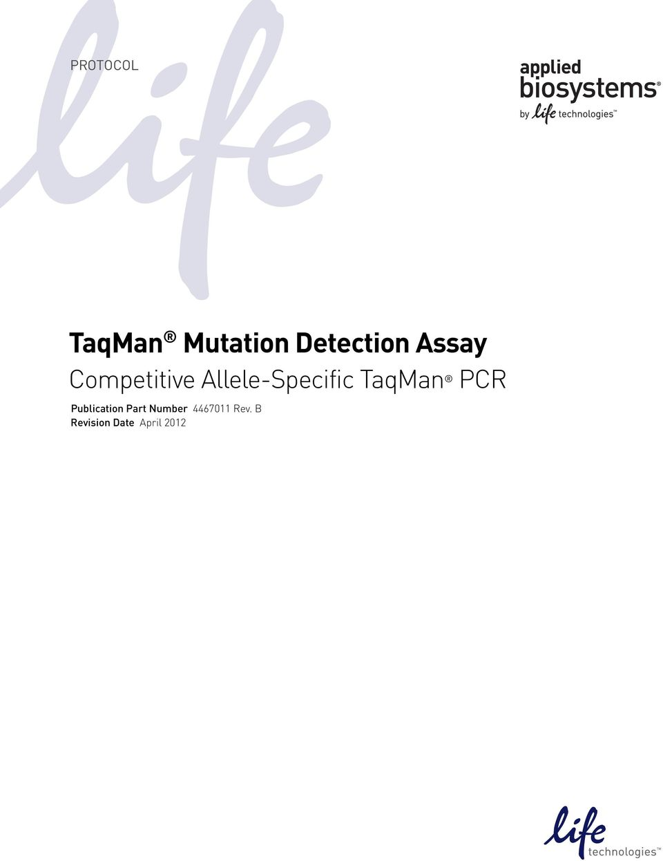 TaqMan PCR Publication Part Number