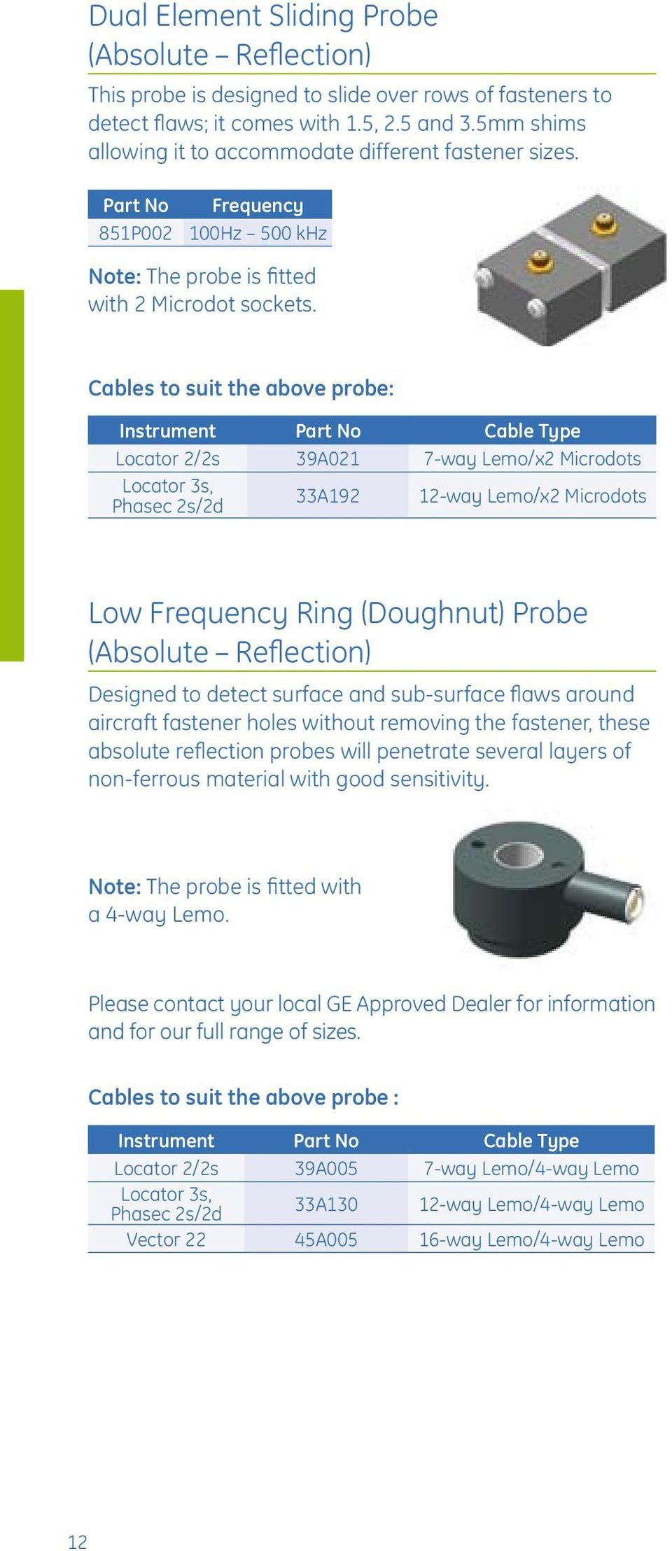 Cables to suit the above probe: Locator 2/2s 39A021 7-way Lemo/x2 Microdots 33A192 12-way Lemo/x2 Microdots Low Frequency Ring (Doughnut) Probe (Absolute Reflection) Designed to detect surface and