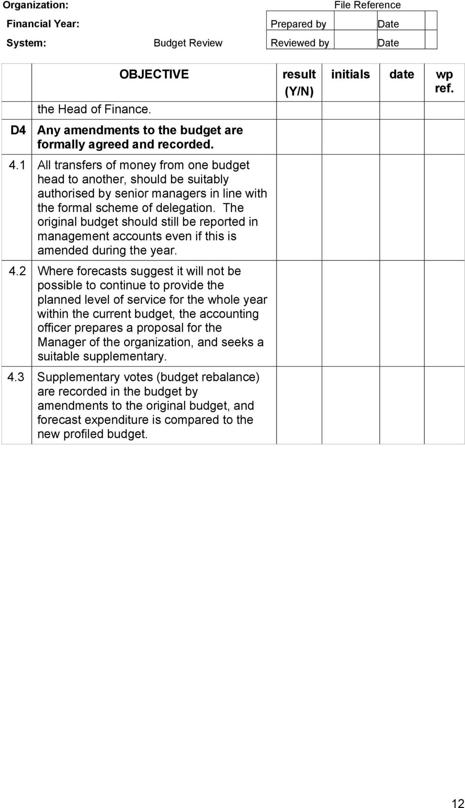 The original budget should still be reported in management accounts even if this is amended during the year. 4.
