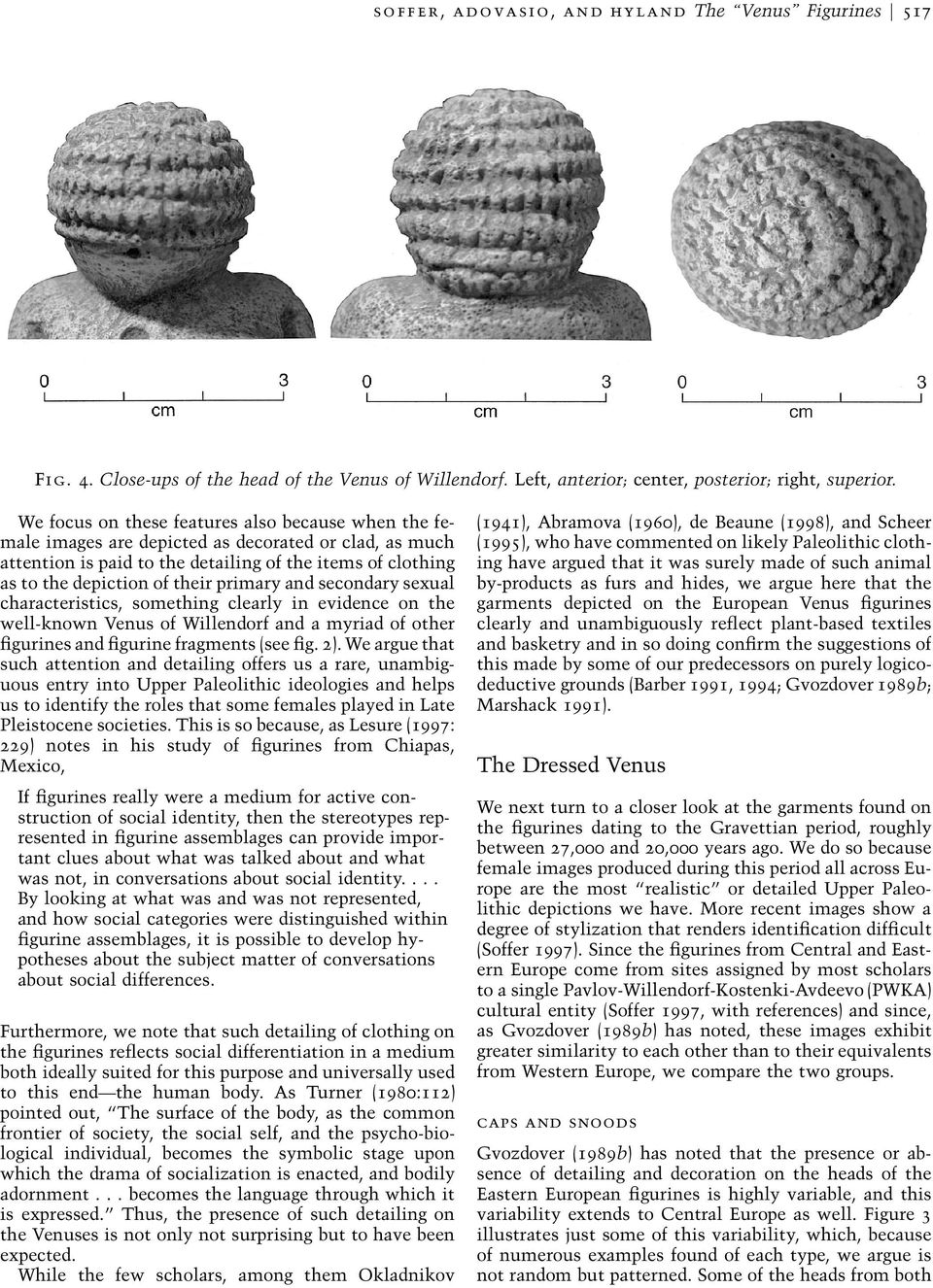 primary and secondary sexual characteristics, something clearly in evidence on the well-known Venus of Willendorf and a myriad of other figurines and figurine fragments (see fig. 2).