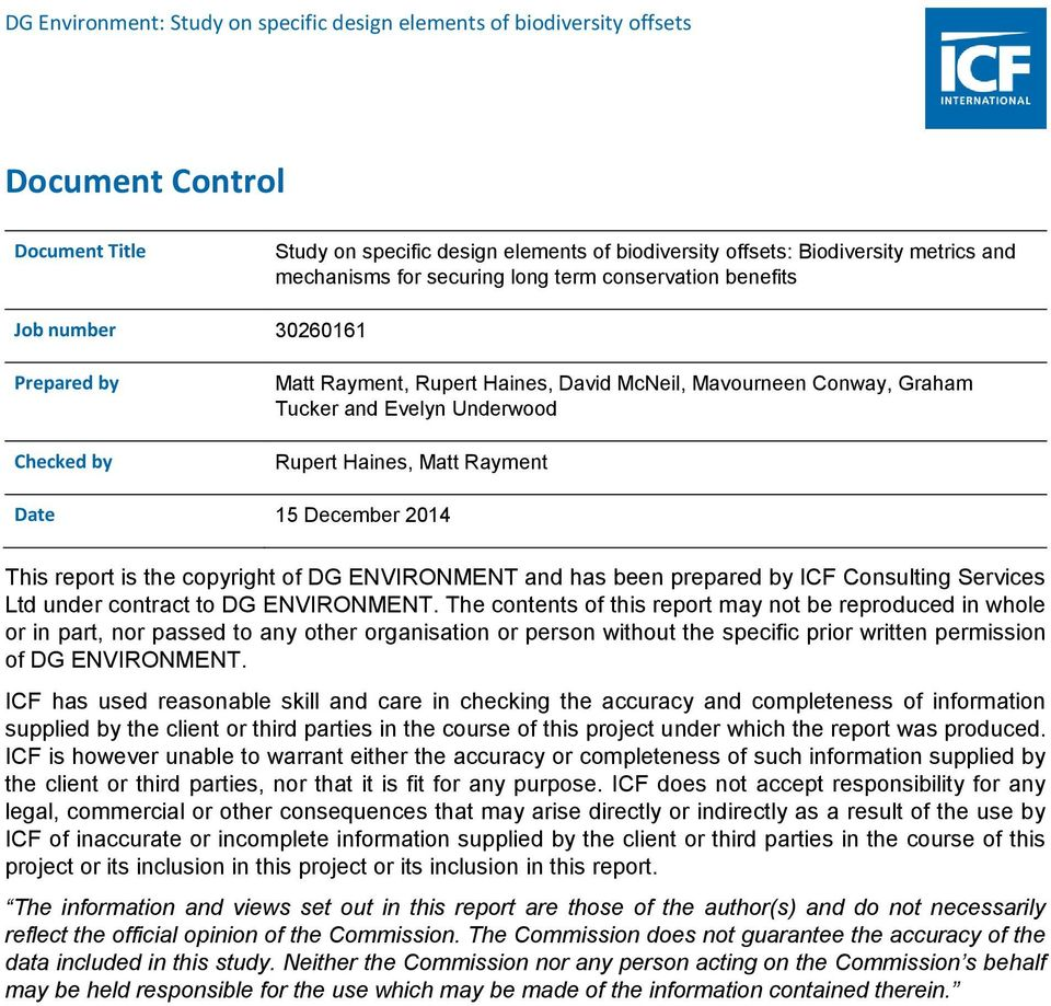 of DG ENVIRONMENT and has been prepared by ICF Consulting Services Ltd under contract to DG ENVIRONMENT.