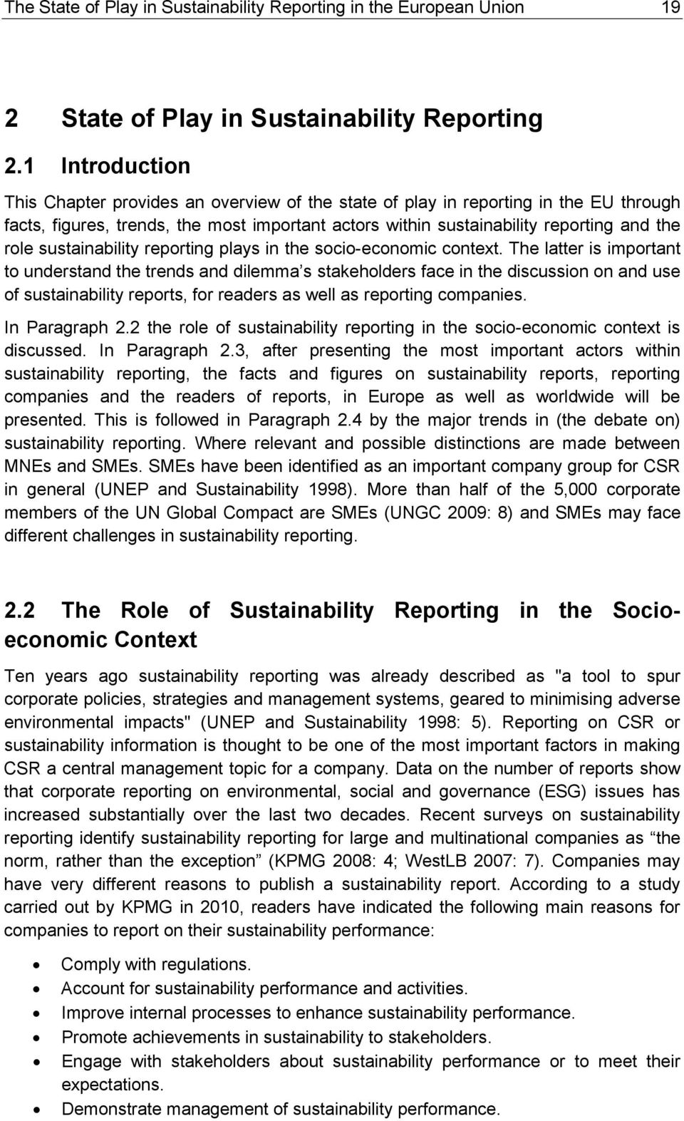 sustainability reporting plays in the socio-economic context.