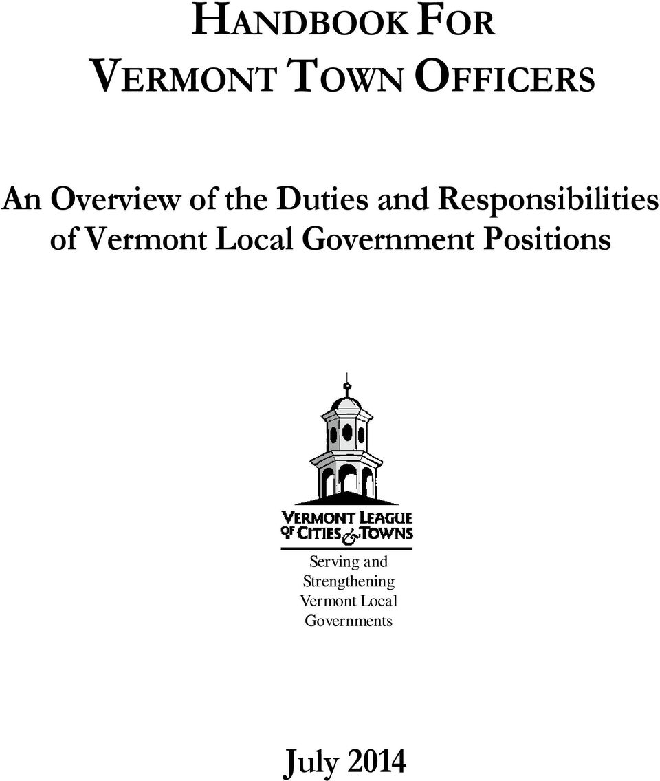 of Vermont Local Government Positions Serving