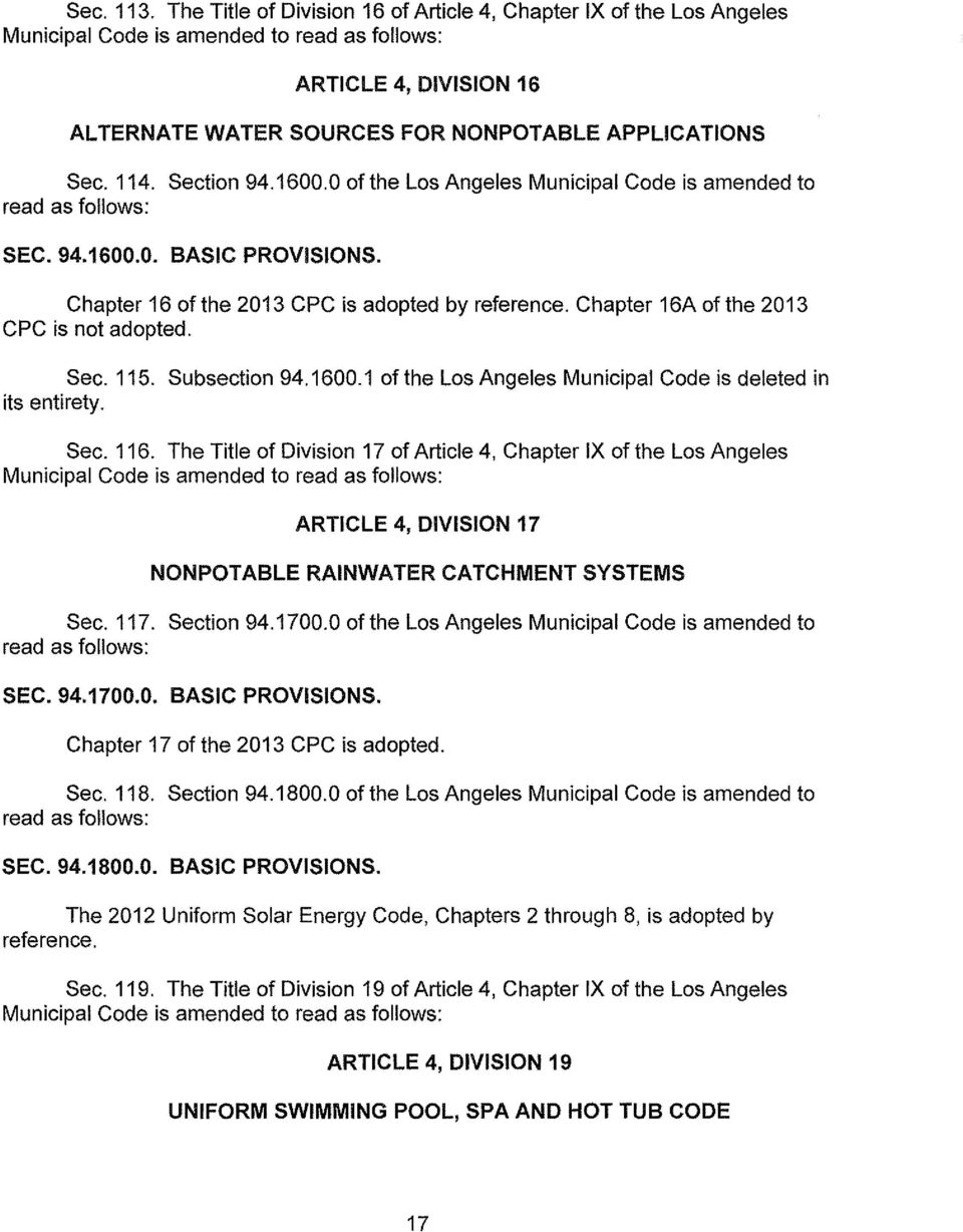 The people of the city of los angeles do ordain as follows for Uniform swimming pool spa and hot tub code 2012 edition
