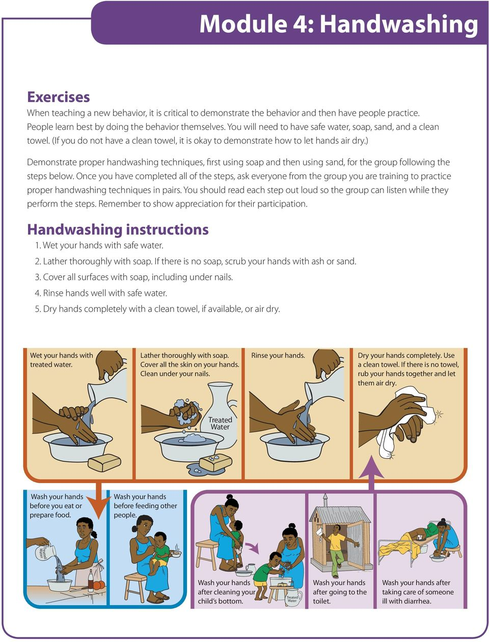 ) Demonstrate proper handwashing techniques, first using soap and then using sand, for the group following the steps below.