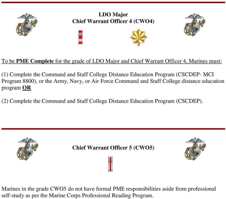 distance education program OR (2) Complete the Command and Staff College Distance Education Program (CSCDEP).