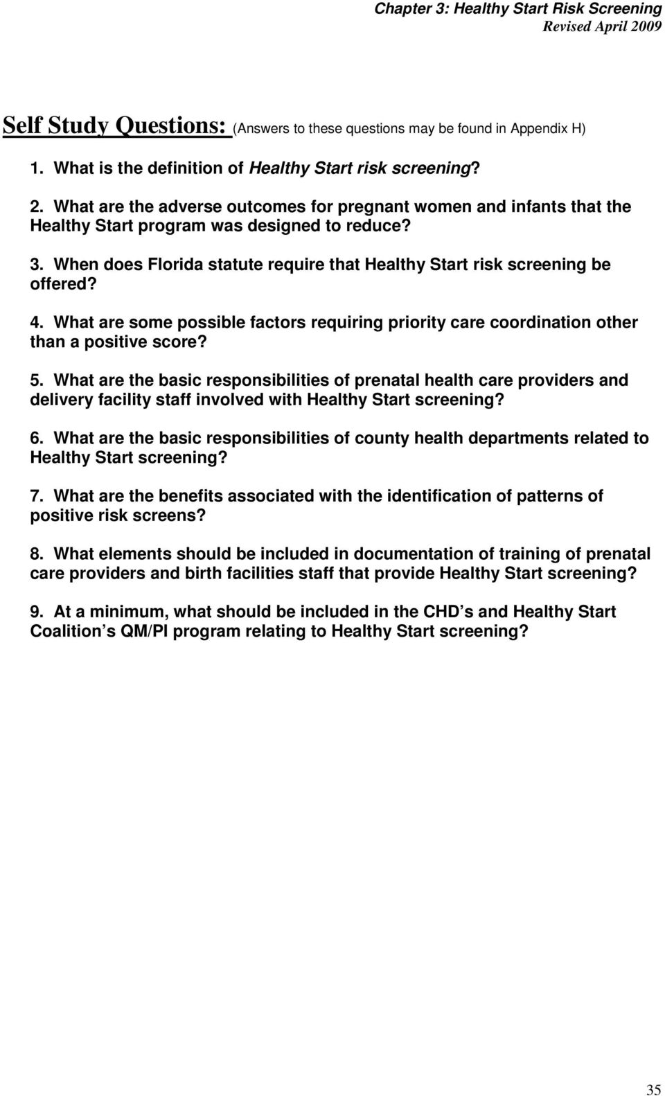 What are the basic responsibilities of prenatal health care providers and delivery facility staff involved with Healthy Start screening? 6.