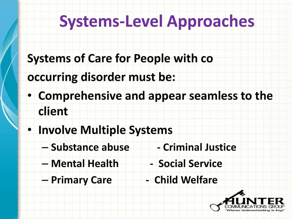 to the client Involve Multiple Systems Substance abuse -
