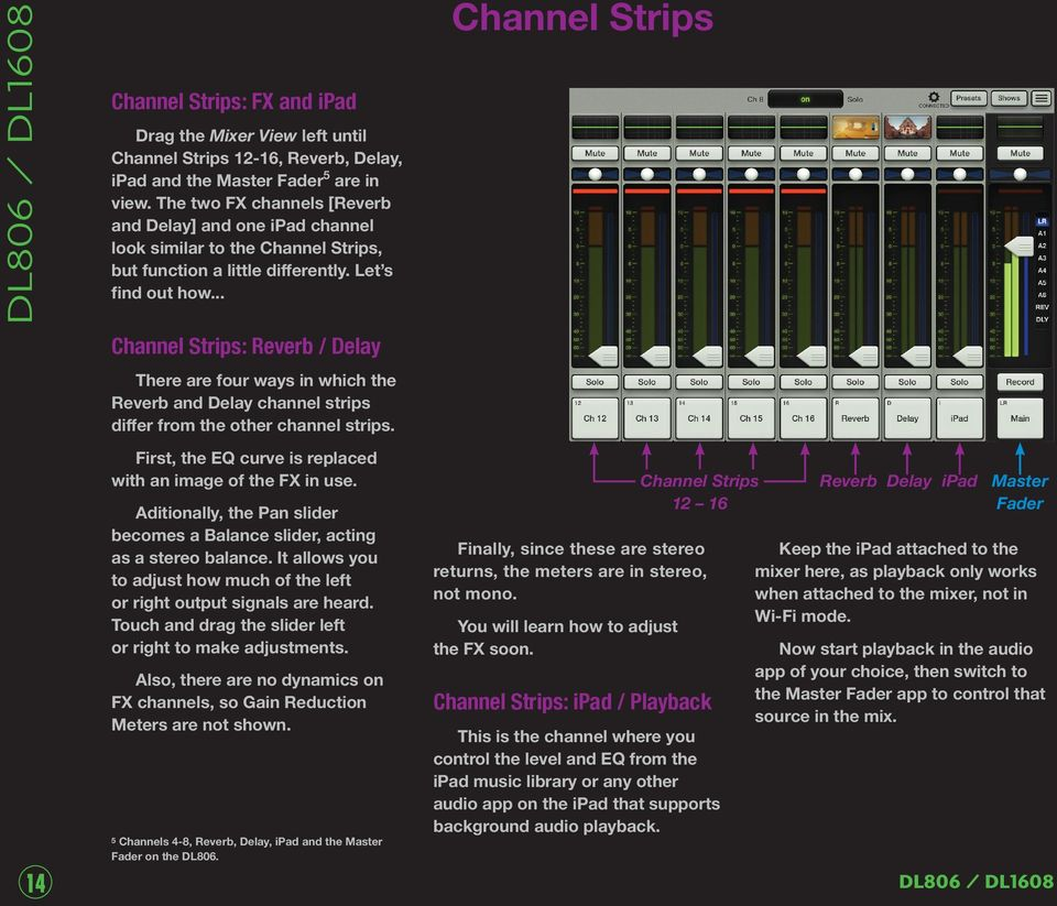 .. Channel Strips: Reverb / Delay There are four ways in which the Reverb and Delay channel strips differ from the other channel strips. First, the EQ curve is replaced with an image of the FX in use.