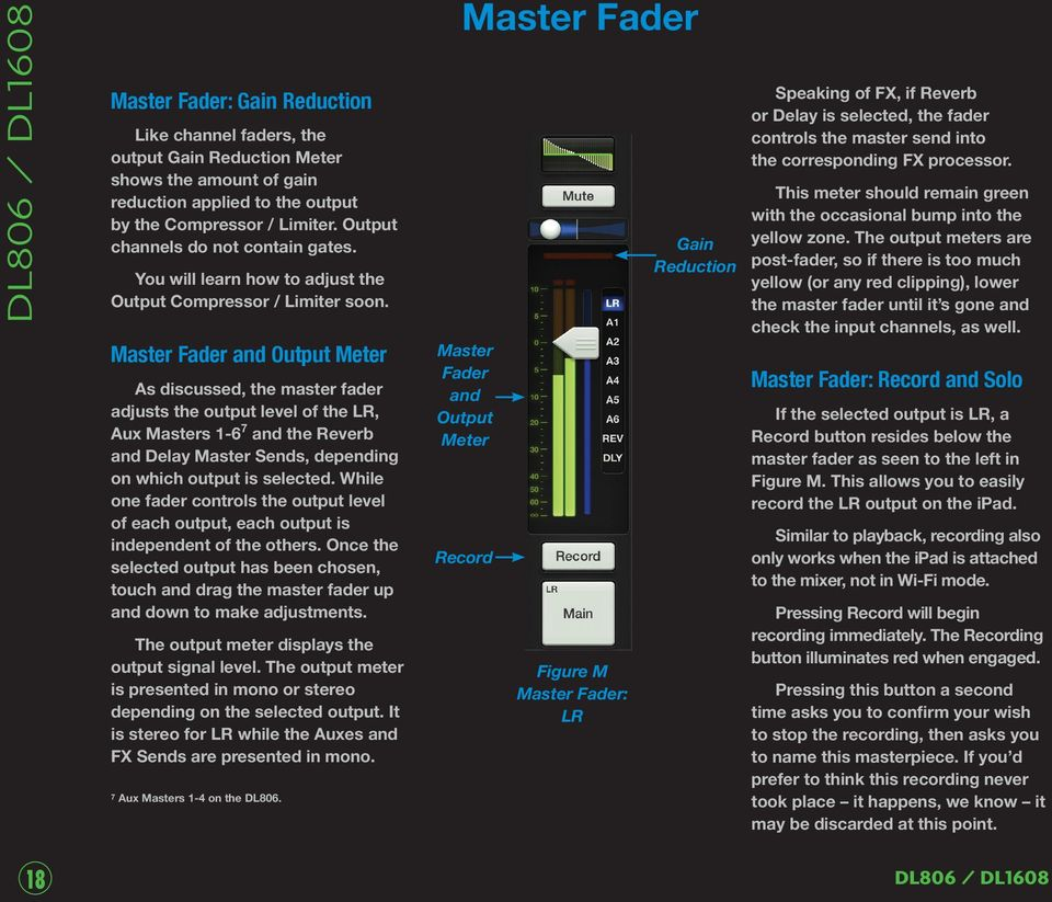 Master Fader and Output Meter As discussed, the master fader adjusts the output level of the LR, Aux Masters 1-6 7 and the Reverb and Delay Master Sends, depending on which output is selected.