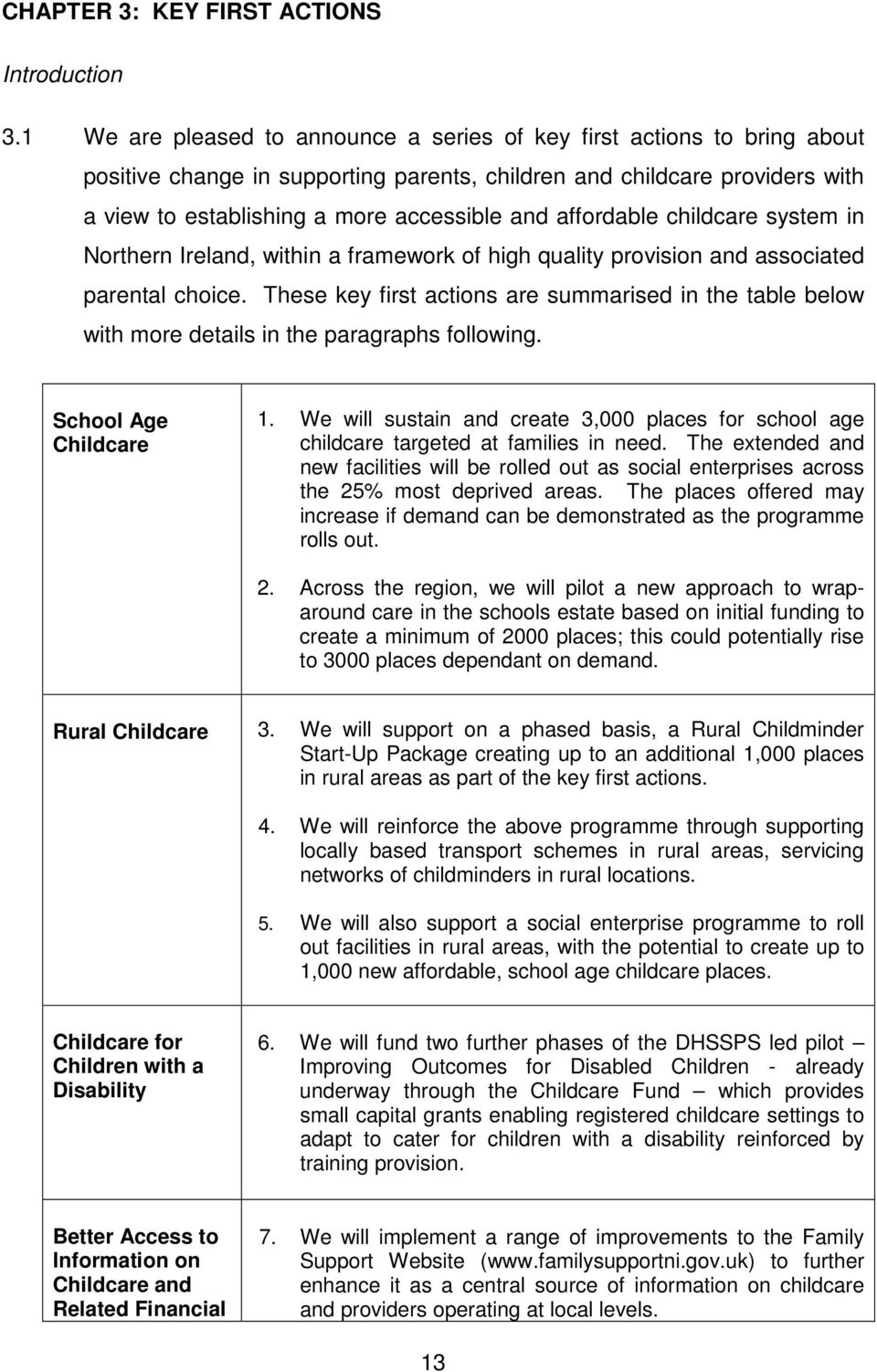 affordable childcare system in Northern Ireland, within a framework of high quality provision and associated parental choice.