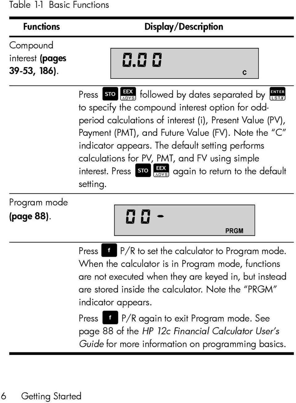 Note the C indicator appears. The default setting performs calculations for PV, PMT, and FV using simple interest. Press VL again to return to the default setting. Program mode (page 88).