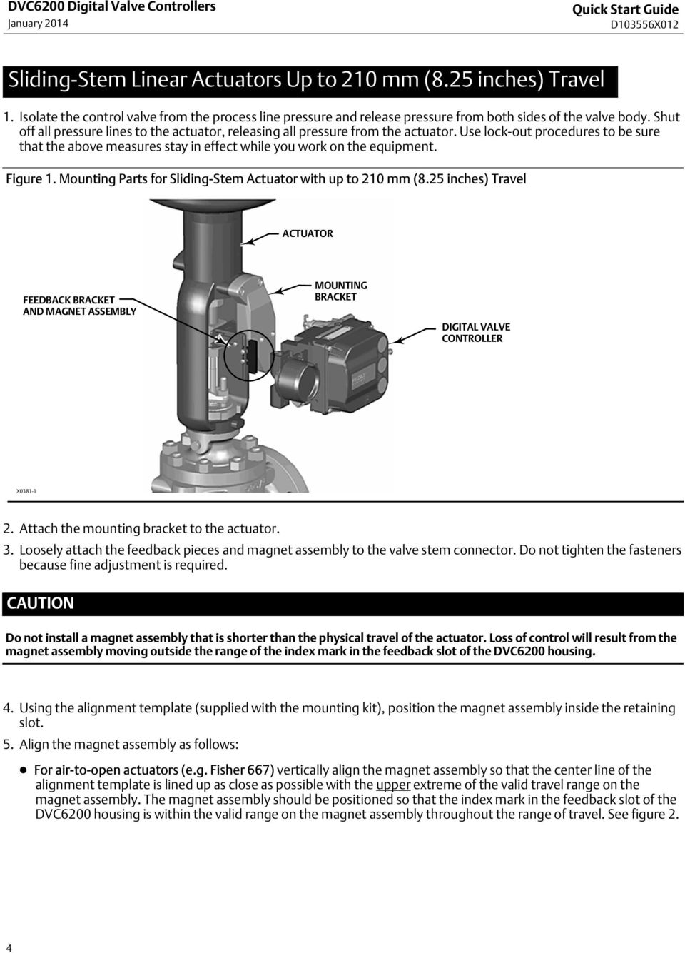 Use lock out procedures to be sure that the above measures stay in effect while you work on the equipment. Figure 1. Mounting Parts for Sliding Stem Actuator with up to 210 mm (8.