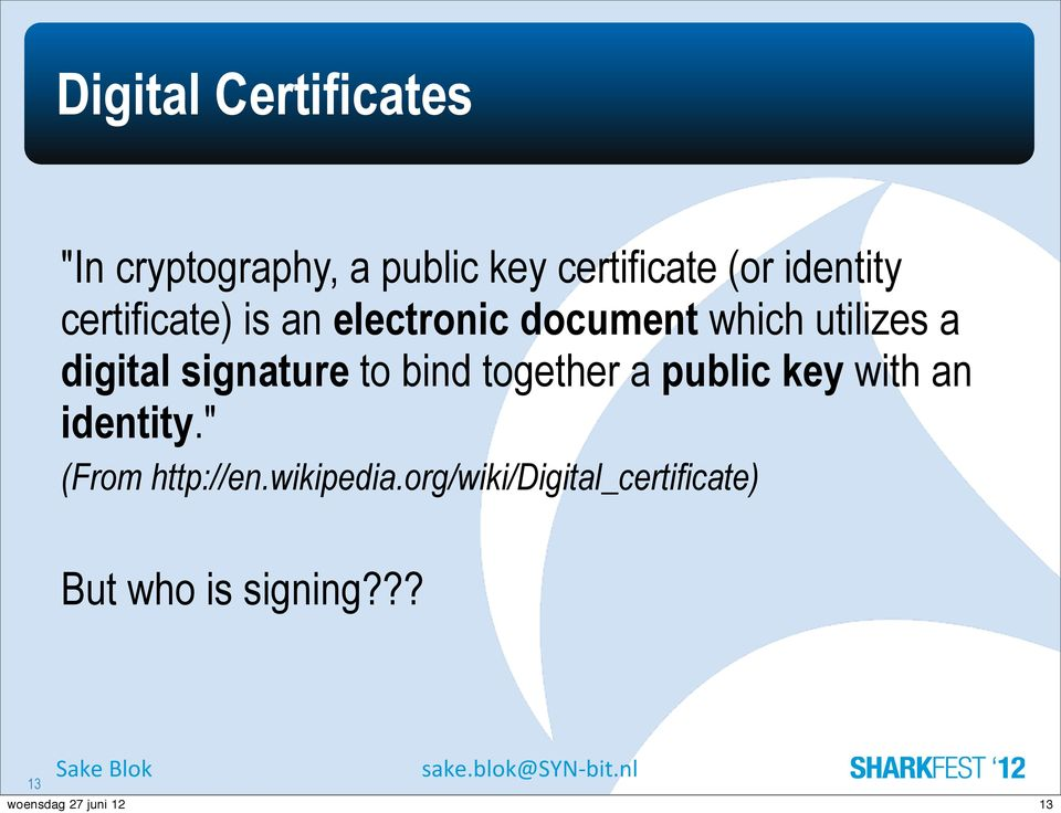 digital signature to bind together a public key with an identity.