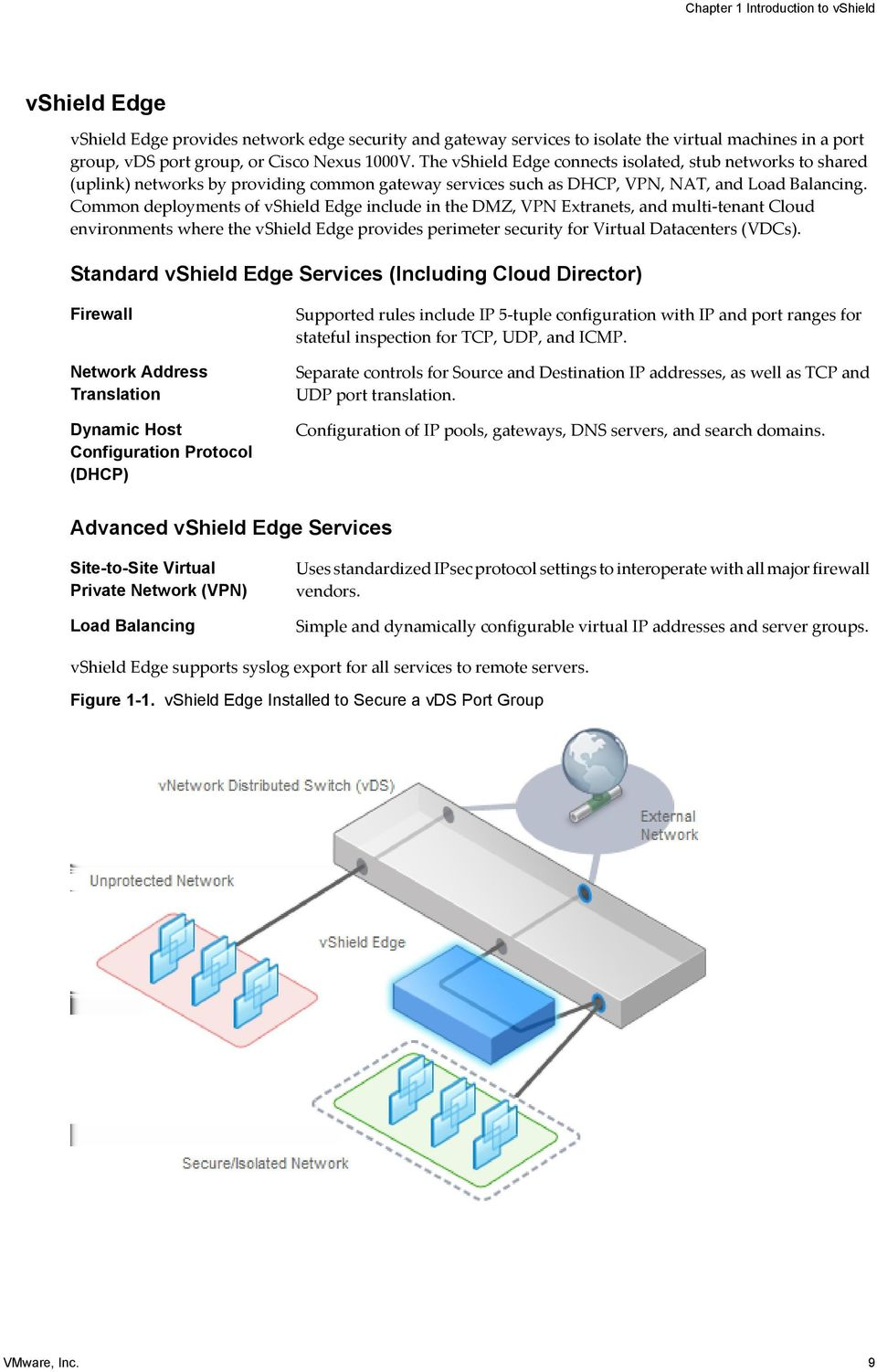 Common deployments of vshield Edge include in the DMZ, VPN Extranets, and multi-tenant Cloud environments where the vshield Edge provides perimeter security for Virtual Datacenters (VDCs).