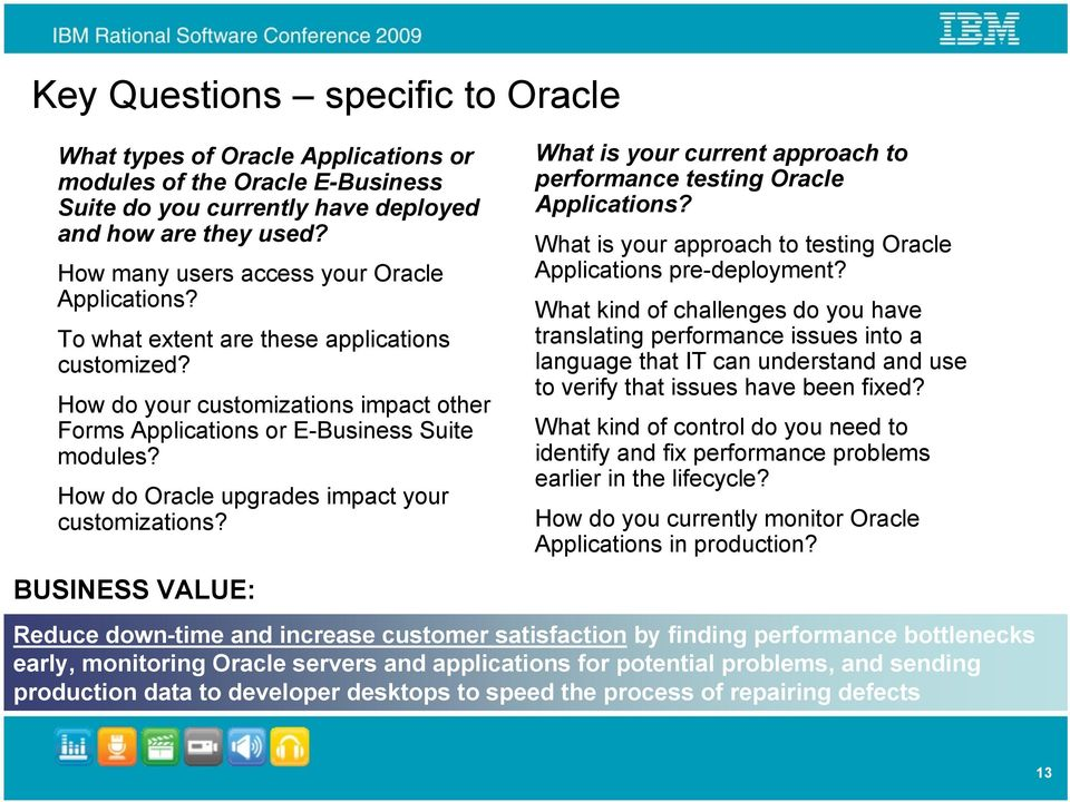 How do Oracle upgrades impact your customizations? BUSINESS VALUE: What is your current approach to performance testing Oracle Applications?