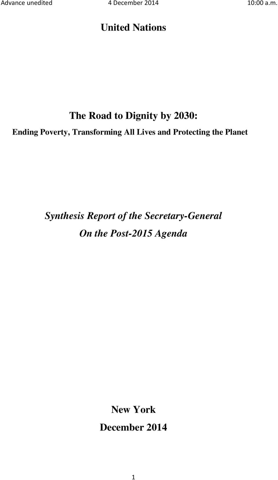 Protecting the Planet Synthesis Report of the