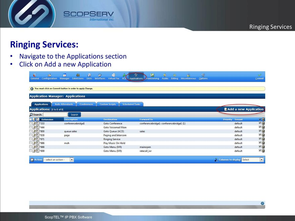 Applications section