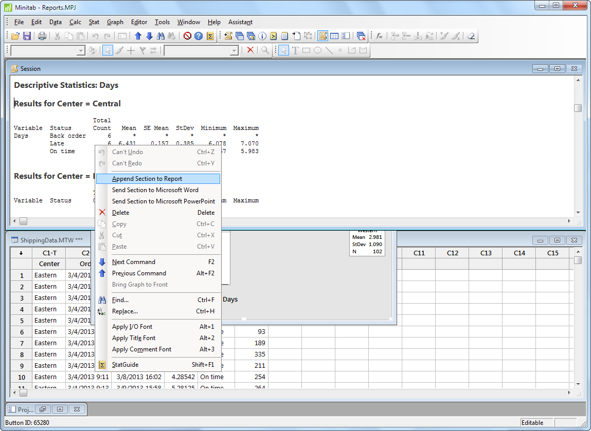 Generating a Report 2. In the Session window, click in the output for Results for Center = Central. Then, right-click and choose Append Section to Report.