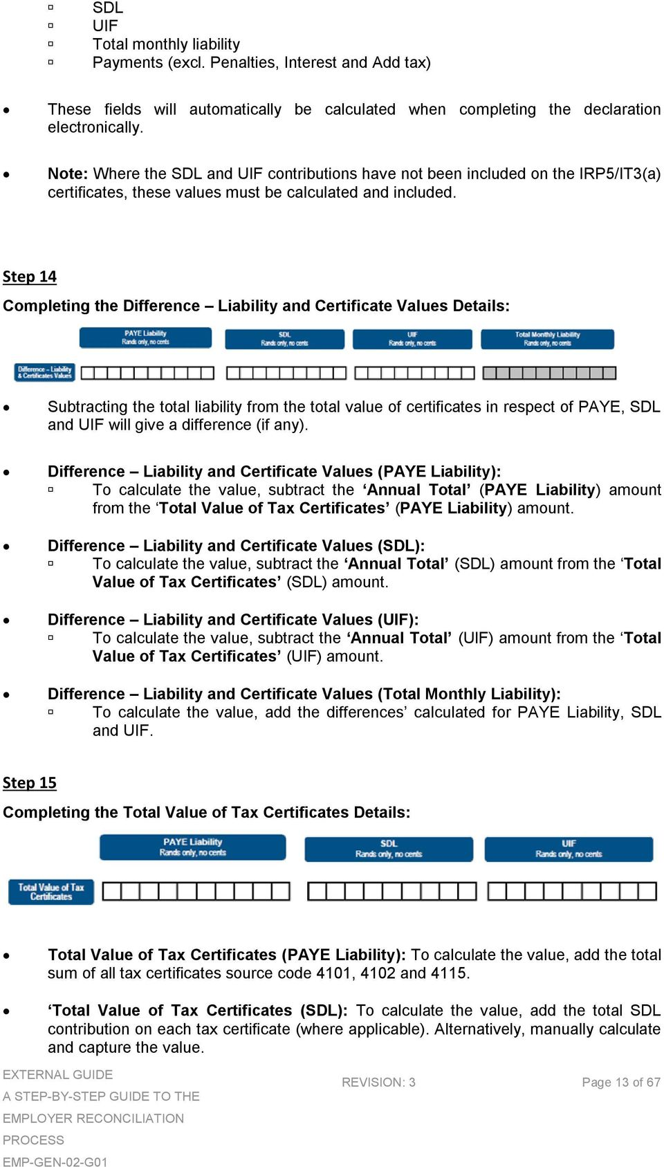 Step 14 Completing the Difference Liability and Certificate Values Details: Subtracting the total liability from the total value of certificates in respect of PAYE, SDL and UIF will give a difference