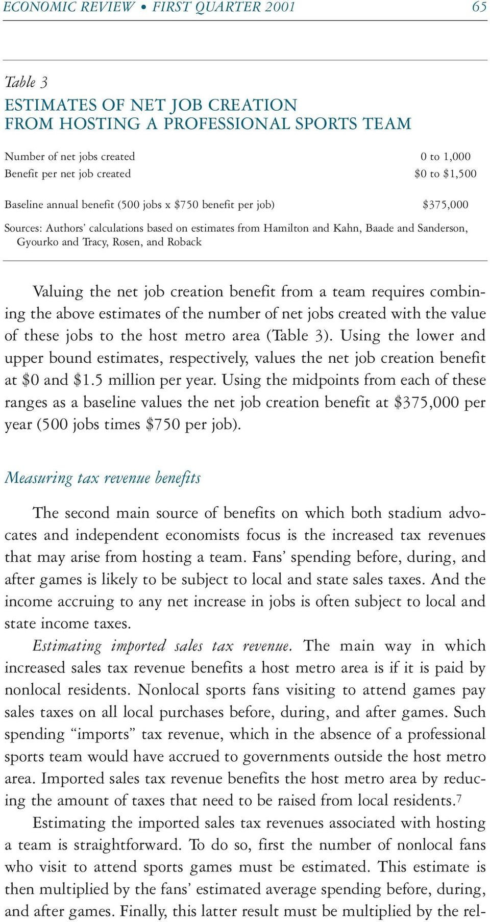 Valuing the net job creation benefit from a team requires combining the above estimates of the number of net jobs created with the value of these jobs to the host metro area (Table 3).