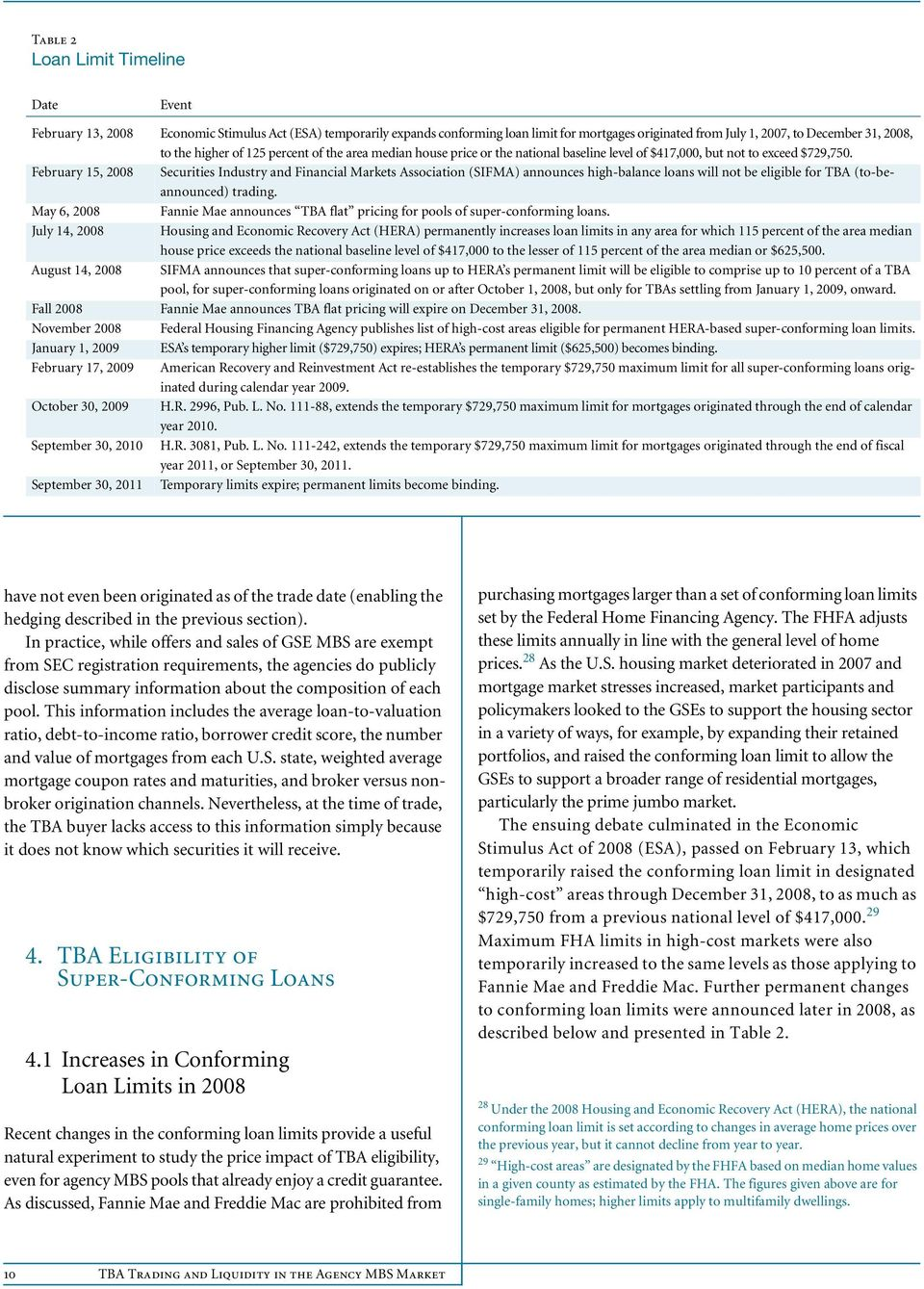 February 15, 2008 Securities Industry and Financial Markets Association (SIFMA) announces high-balance loans will not be eligible for TBA (to-beannounced) trading.