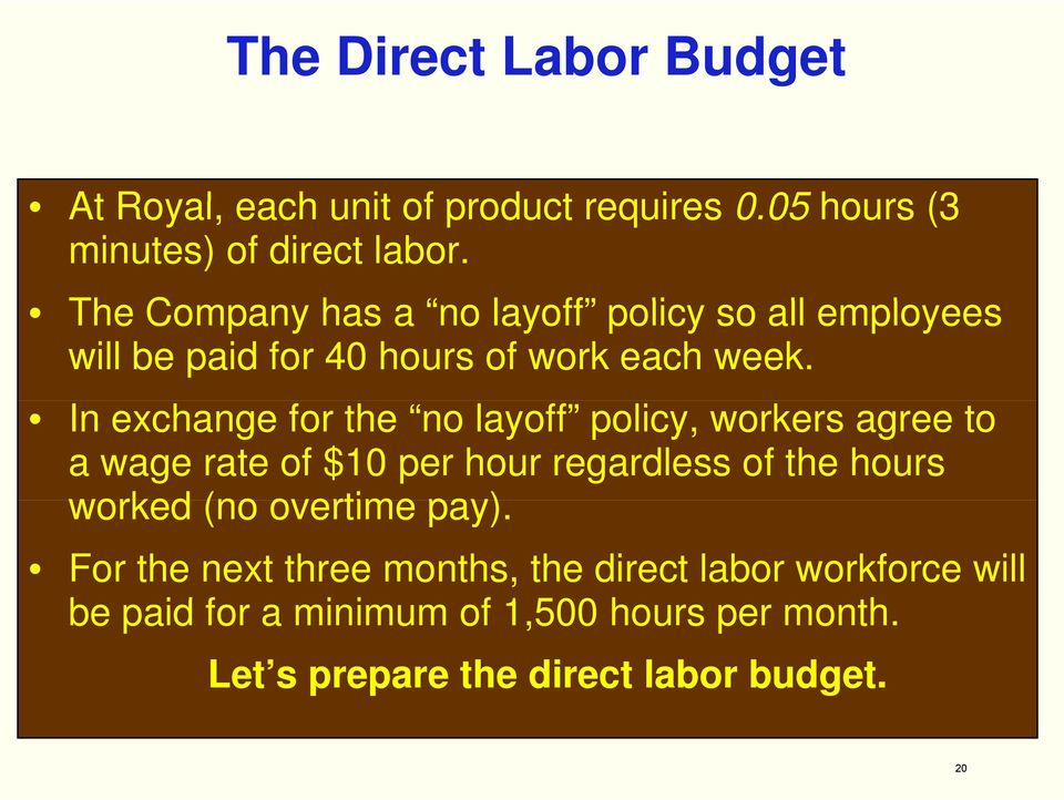 In exchange for the no layoff policy, workers agree to a wage rate of $10 per hour regardless of the hours worked (no