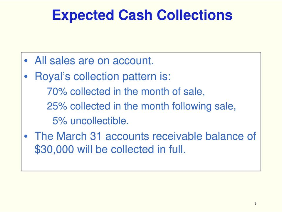 sale, 25% collected in the month following sale, 5%