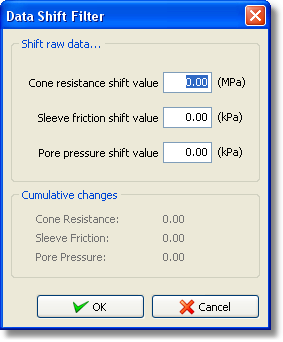 58 Data shift dialog The software will monitor the changes made so that you can revert to the original values simply by entering the appropriate cumulative change. 4.7.