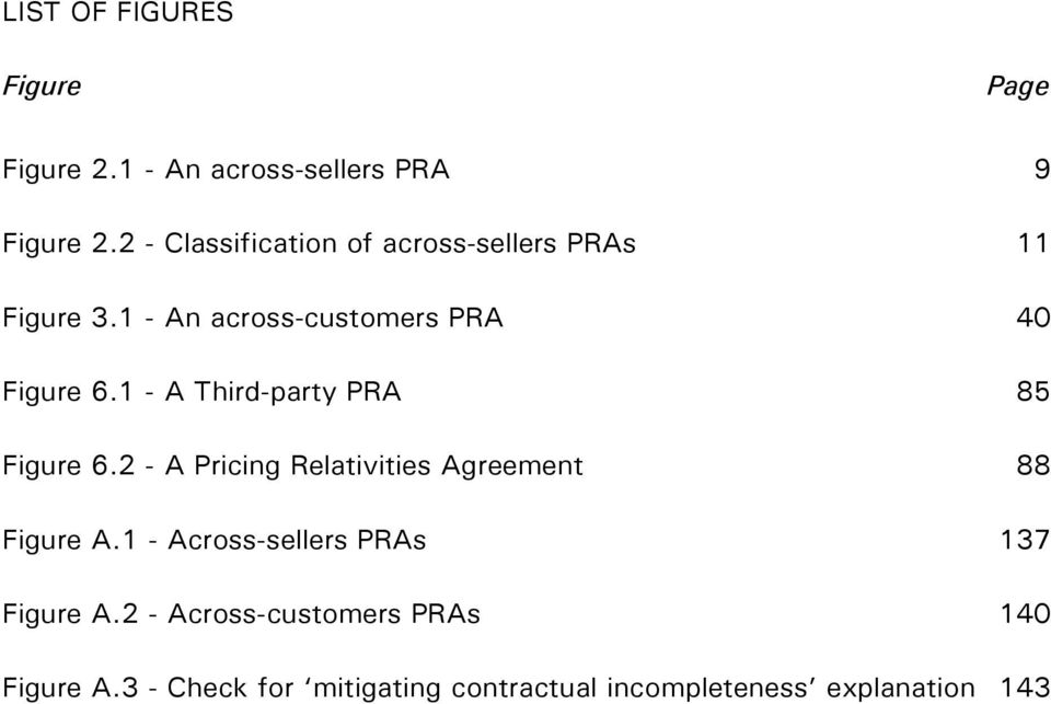 1 - A Third-party PRA 85 Figure 6.2 - A Pricing Relativities Agreement 88 Figure A.