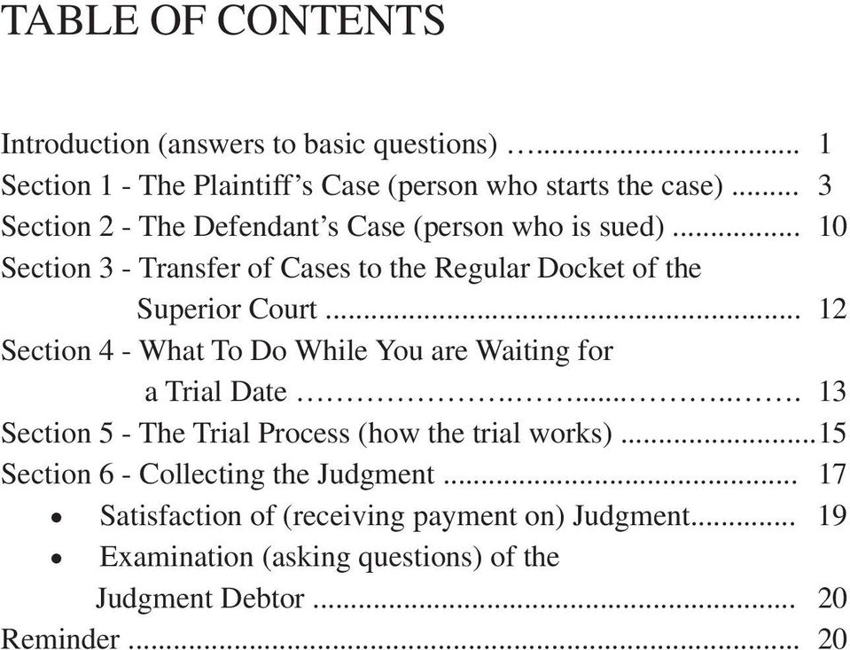 .. 12 Section 4 - What To Do While You are Waiting for a Trial Date....... 13 Section 5 - The Trial Process (how the trial works).