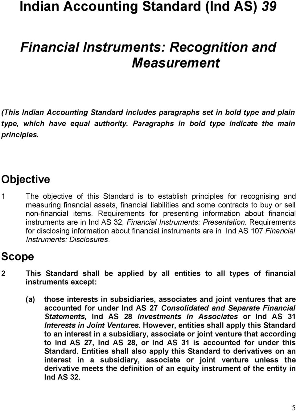 Objective 1 The objective of this Standard is to establish principles for recognising and measuring financial assets, financial liabilities and some contracts to buy or sell non-financial items.