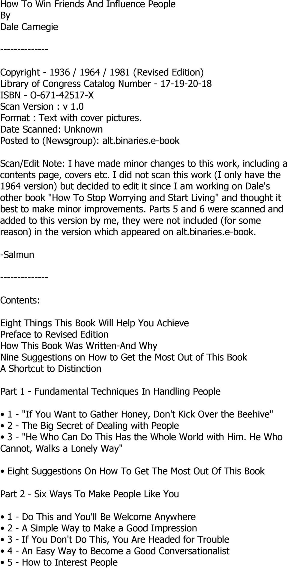e-book Scan/Edit Note: I have made minor changes to this work, including a contents page, covers etc.