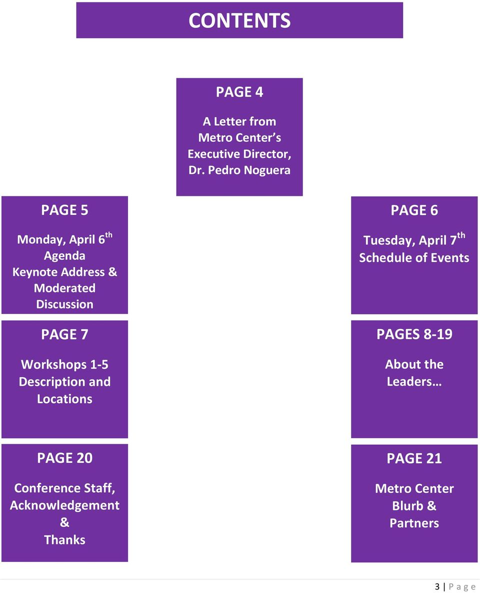 Workshops 1-5 Description and Locations PAGE 6 Tuesday, April 7 th Schedule of Events PAGES