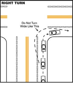 If there are no signs or lane markings to control turning, you should turn from the lane that is closest to the direction you want to go, and turn into the lane closest to the one you came from.
